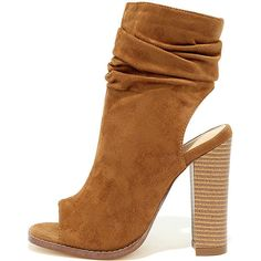 Only the Latest Tan Suede Peep-Toe Booties ($40) ❤ liked on Polyvore featuring shoes, boots, ankle booties, brown, suede peep toe booties, tan booties, brown suede boots, brown mid calf boots and suede boots