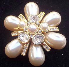 JOAN RIVERS Vintage Brooch MALTESE CROSS Pearl Cabochons Ice Rhinestones | Jewelry & Watches, Vintage & Antique Jewelry, Costume | eBay!