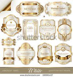 white gold-framed labels - stock vector