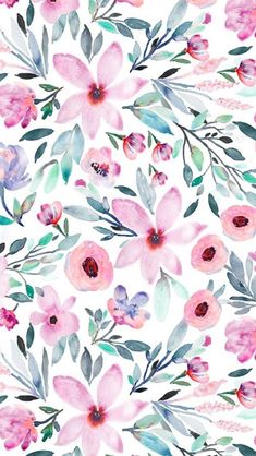 Floral watercolors by indybloomdesign. Beautiful Pink and emerald floral pattern… Floral watercolors by indybloomdesign. Beautiful Pink and emerald floral pattern on fabric, wallpaper, and gift wrap. Hand painted watercolor floral design in shades of. Flower Wallpaper, Wallpaper Backgrounds, Iphone Wallpaper, Fabric Wallpaper, Beautiful Wallpaper, Pink Wallpaper, Watercolor Wallpaper Phone, Floral Pattern Wallpaper, Cute Patterns Wallpaper