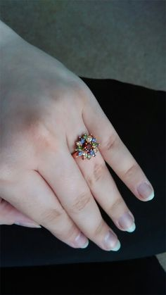 Multicolor Ring - Cubic Zirconia Ring - Wedding Ring - Copper Ring - Everyday Ring - Modern Ring - Dainty Ring - Colorful Ring