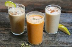 3 recipes for healthy fall smoothies, including Oatmeal Pear, Power Pumpkin Seed, and Apple Pie Chia.