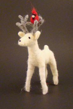White Woodland Deer Christmas Ornament Needle by BestDayEverDesign, $21.00