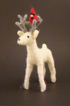 White Woodland Deer Christmas Ornament Needle Felted Red Cardinal in Antlers