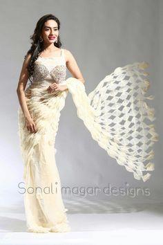 Silk jute net, hand made saree.. multi colour detail work blouse.