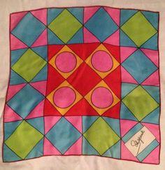 "Vintage Schiaparelli Geometric Bright Silk Scarf 23""x23"""