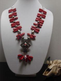 Gypsy Cowgirl Chic Red TQ Swarovski Crystal Concho Long Necklace Western OOAK  #GypsyCowgirlChic #Statement