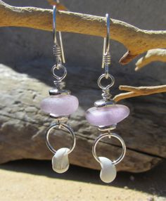 Rare Lavender Sea Glass Earrings With Shells, Sterling Silver    $40 Give the GIFT that Mother Nature made!  Genuine surf-tumbled sea glass.  Made into beautiful jewelry by Julie   www.bonsaiseaglassjewelry.com