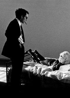 Jean-Luc Godard and Brigitte Bardot on the set of Le mépris, 1963