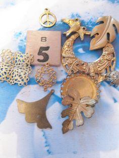 Mystery Charm Grab Bag Raw Brass B5 by dimestoreemporium on Etsy, $3.00