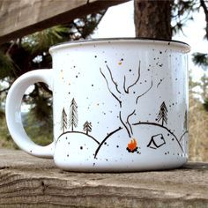 Campfire Nights mug // camping mug // June Resolution Release by leftofrose on Etsy https://www.etsy.com/listing/235427639/campfire-nights-mug-camping-mug-june