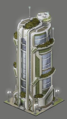 anno 2070 buildings -chia pet landing modules of rocket boosters(dual use, liquid fuel up, livable when empty) Green Architecture, Concept Architecture, Futuristic Architecture, Amazing Architecture, Architecture Design, Minimalist Architecture, Futuristic City, Futuristic Design, Building Concept