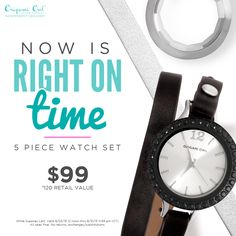 NOW is Right on #time   Until August 31 2015 (while supplies last) you can get a #Watch Set and #save $21! And you'll have completely different looks to mix it up!   You can get your #origamiowl Watch Set at http://cortneyharris.origamiowl.com  Remember, for the month of august, 10% of all sales will be donated to the Food Bank of West Central Texas!  #TeamInspirationOwls #charity #jewelry #donate #love #forceforgood #o2 #bracelet #leather #changeitup #time #style #fashion #women…