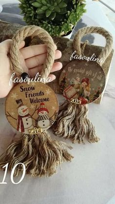 Set of 6 twine Christmas tree ornaments for rustic country home decoration Farmh Easy Christmas Ornaments, Wooden Christmas Decorations, Christmas Crafts To Make, Primitive Christmas, Rustic Christmas, Christmas Projects, Simple Christmas, Handmade Christmas, Holiday Crafts