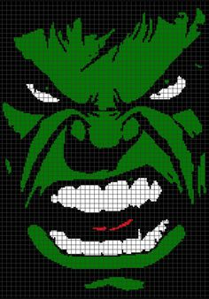 Cross Stitch Patterns Hulk Face (Graph AND Row-by-Row Written Crochet Instructions) - 02 - This crochet graphghan pattern is 151 x 215 squares and comes with the written row-by-row instructions as well as the graph. Pixel Art Wolf, Pixel Art Marvel, Pixel Art Dragon, Pixel Art Anime, Graph Crochet, Pixel Crochet, Crochet Blanket Patterns, Cross Stitch Patterns, Tunisian Crochet