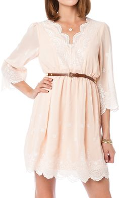 Blush lace dress.. This would be cute with leggings and boots to teach in... :0)