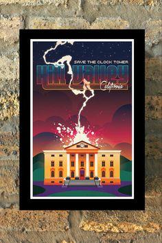 Zurück zu der Zukunft Hill Valley Reisen Poster Print Marty McFly Mauer Kunst neue Wohnung Geekery