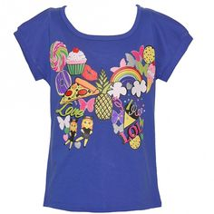 Big Girls Blue Summer Entertainment Print Stripe Short Sleeve T-Shirt 7-12 - Sophia's Style