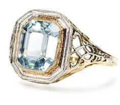 Sultry Art Deco Aquamarine Ring - The Three Graces