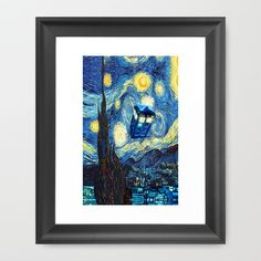 Tardis Doctor Who Starry Night Framed Art Print by Pointsalestore - $37.00