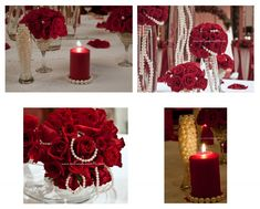 Wedding Alter Decorations all in red roses | Martini glass as vase- am glad Sylvia had agreed to do this for me :