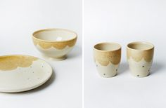Plates, bowls and cups byDawn Vachon -wheel thrown stoneware, straw coloured scalloped glaze.