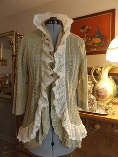 Altered Tan Crochet Cardigan With Wide Ruffled by MissPoppysFancy