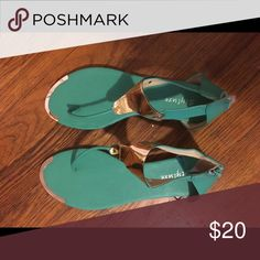 Teal Sandals Teal sandals with gold plastic buckle. Shoes Sandals