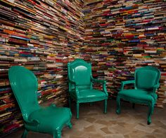 Sydney's Eastern Hotel where 6000 recycled books rescued from the paper pulpe are laid in a brick pattern to form a major acoustic wall