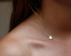 Silver Star necklace, Silver Initial Necklace, Sideways Intial Necklace, Sister…
