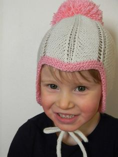 Knitting Pattern PDF Retro Chevron Bonnet with Pompom