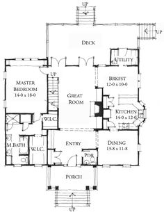 Allison Ramsey Architects | Floorplan for Rutledge Avenue - 2398 square foot house plan # C0167