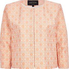 Orange floral tile print boxy cropped jacket ?55.00