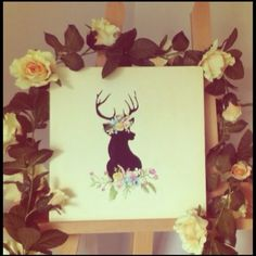 My first Canvas painting :) #canvas #art #deer #stag #flowers #artwork #painting #canvas #pretty #flowers #nature #carinalinnane