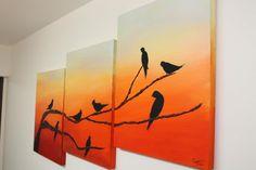 3 Canvas Paintings, Multi Canvas Painting, Canvas Painting Designs, Small Canvas Art, Diy Canvas Art, Easy Paintings, Diy Painting, Oil Pastel Art, Cool Art Drawings