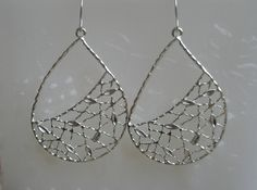 Silver teardrop earringsSilver Rhodium Plated by RandLDesign, $11.00