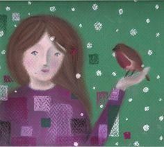 A friend for winter (oil pastel children's illustration)