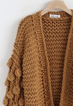 Cuteness on Sleeves Chunky Cardigan in Caramel - Retro, Indie and Unique Fashion Shawl Collar Cardigan, Shawl Cardigan, Chunky Cardigan, Prayer Shawl Crochet Pattern, Crochet Wrap Pattern, Crochet Patterns, Outfit Combinations, Unique Fashion, Fall Fashion