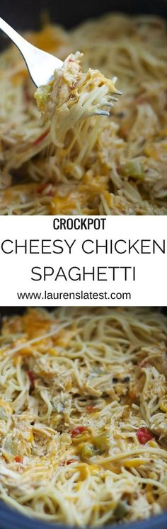 the easiest crockpot dinner ever! Cook the . CLICK Image for full details Crockpot Cheesy Chicken Spaghetti.the easiest crockpot dinner ever! Cook the chicken in the sauce and the. Chicken Spaghetti Recipe Crockpot, Chicken Spaghetti Recipes, Pasta In The Crockpot, Crock Pit Chicken Recipes, Crock Pot Spaghetti, Chicken Noodle Soups, Crockpot Cream Of Chicken, Crockpot Chicken Casserole, Chicken Tetrazzini Recipes