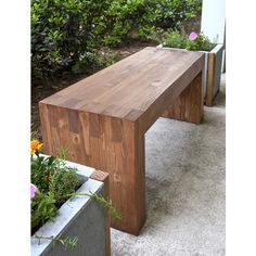 Williams Sonoma inspired DIY outdoor bench via Polyvore featuring home, outdoors, patio furniture, outdoor benches, wooden patio furniture, wooden garden bench, modern outdoor bench, wooden outdoor furniture and wooden garden furniture