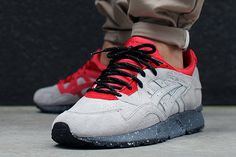 This ASICS Gel Lyte V is looking pretty dang fiery for sure, a grey suede base, earthed by a speckled …