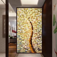 Новая печатная экран строчки богатство Green Tree Pachira вертикальное исполнение прихожей стежка шелк крупная сетка - Taobao