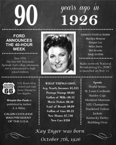 Personalized 90th Birthday Chalkboard Poster, 1926 Facts DIGITAL FILE                                                                                                                                                                                 More