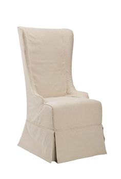 love this slip covered high back dining chair .