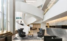 Mexico City-based architecture firm Sordo Madaleno Arquitectos has recently designed a new office for its architecture studio SMA and real estate Construction Area, Office Interior Design, Mexico City, Stairs, Real Estate, Ceiling Lights, Architecture, Building, Modern