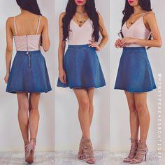 For a Reason Denim Skater Skirt - Dark Blue ($46) ❤ liked on Polyvore featuring skirts, denim skirt, flared skirt, knee length denim skirt, skater skirt and dark blue skater skirt