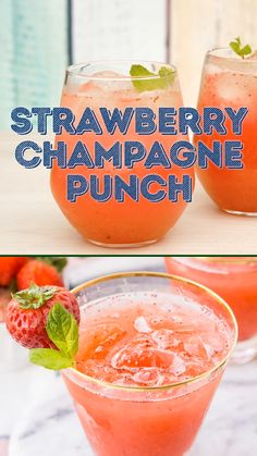 This Strawberry Champagne Punch is the ultimate pink drink! It's sparkly, easy to make, and loaded with strawberry sweetness! Source by sugarandsoulco Drink Champagne Punch Recipes, Champagne Drinks, Alcohol Drink Recipes, Pink Drinks, Cocktails, Party Drinks, Summer Drinks, Cocktail Drinks, Champagne Party