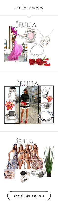 """Jeulia Jewelry"" by ermansom ❤ liked on Polyvore featuring jewelry, jeulia, jewelr, Komar, Diane Von Furstenberg, H&M, Victoria Beckham, Avon, L'Oréal Paris and Iman"