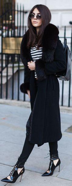 Black fendi fur coat for those freezing winter days | The Golden Diamonds