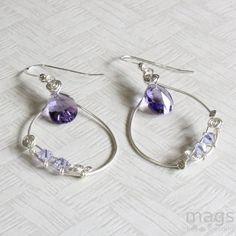 Tanzanite Swarovski Crystals Purple Wire Earrings $16